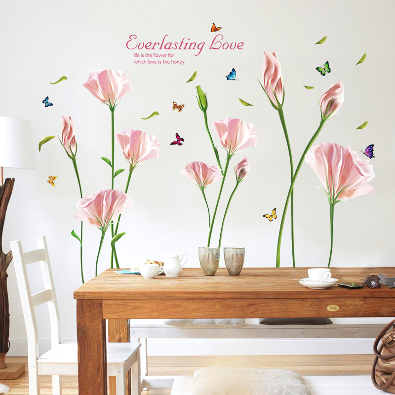 Purple Pollen Removable Wall Art Decal Sticker Diy Home: Beautiful Pink Purple Lily Flowers Butterfly Wall Stickers