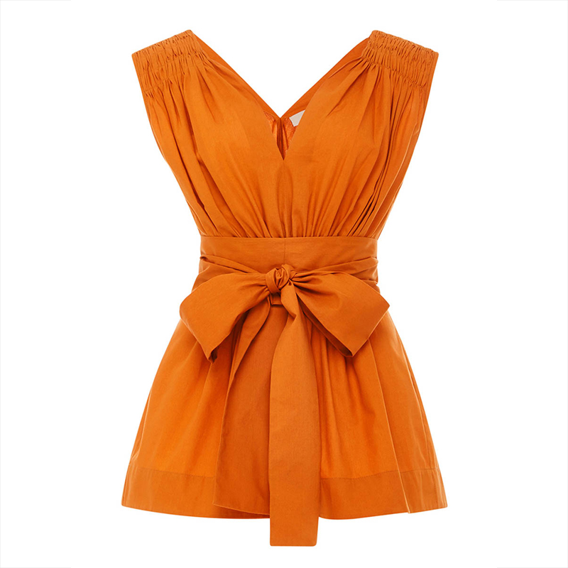 Brand Women Tank Shirts Orange V Neck Sleeveless Slim Pleated Sexy Blouse Tops Ladies Fashion Bowknot Vest Casual Shirts Tops ...