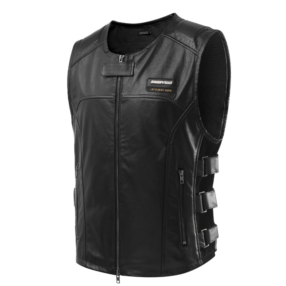City Vintage Motorcycle Vest Leather Clothing Men Racing Protective Visbility Moto Jacket Armor Vests Security Motorbike Retro