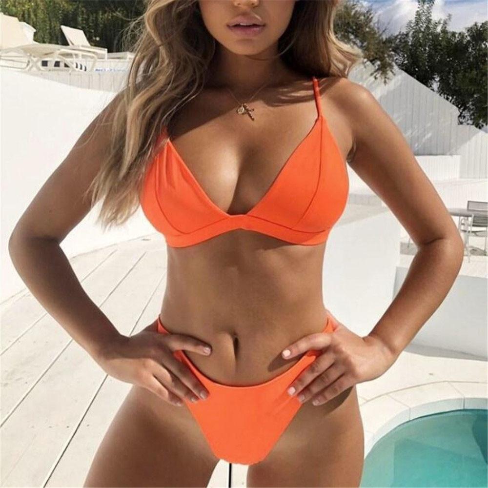 My Daily Damen Bikini-Satz Flamingo Tropical Palm Blätter Zwei Badeanzug Bade- & Surfbekleidung