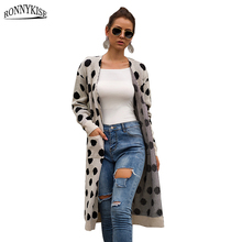 RONNYKISE High Quality Dot Cardigans Women fashion Long sleeve Casual Sweater Autumn Winter Sweaters Clothes