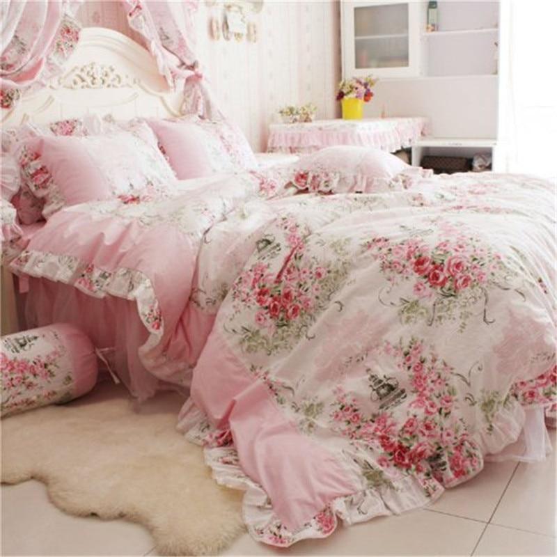 46146b7b1e1d FADFAY Home Textile Sanding Cotton Pink Rose Floral Print Duvet Cover Set  Bedding Sets For Girls 4pcs Queen King Size Bed Sets