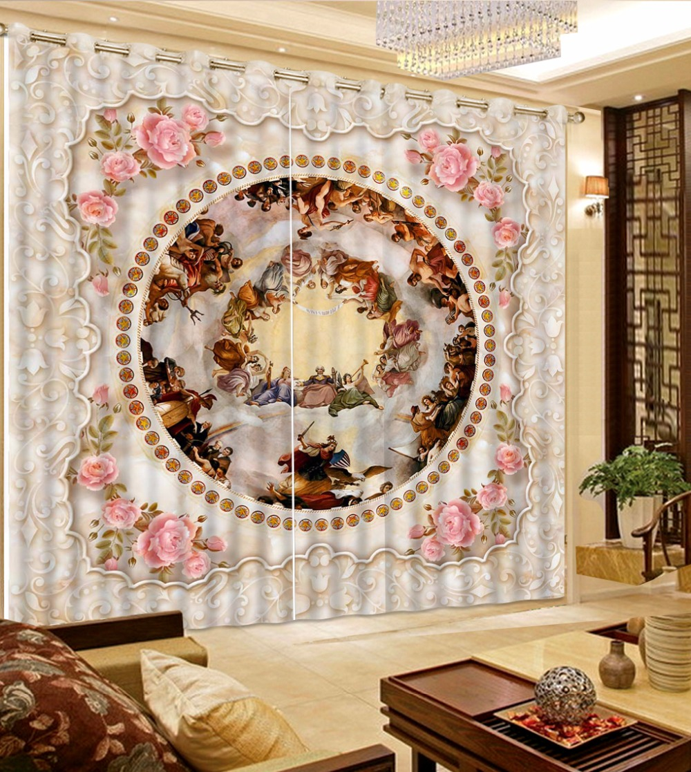 Salon Impression 3d Porte Décorative Rideau Photo Impression 3d Rose Rideaux De Luxe