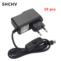 10Pcs 5V 2.A Power Supply Charger AC Adapter Micro USB Cable with ON/OFF Switch for Raspberry Pi 3 Banana Pi Pro Model B B+ Plus