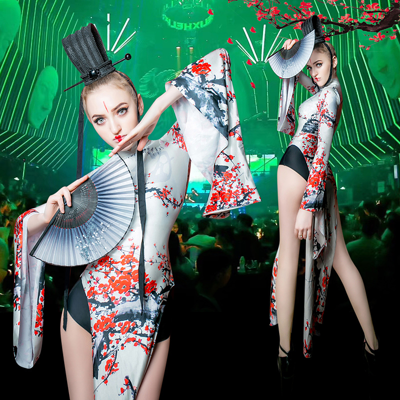 Sexy Cheongsam dresses  chinese style jazz  DJ DS Performance Costume halloween party cosplay dance wear