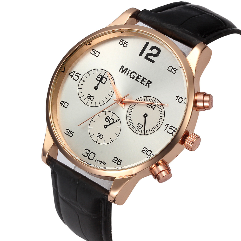 High Quality MiGEER Mens Watches Top Brand Luxury Design Dial PU Leather Watches for Men Analog Quartz Wrist Watch Reloj Mujer 2015 hot sale mens watches top brand luxury high quality fashion design leather men quartz watch