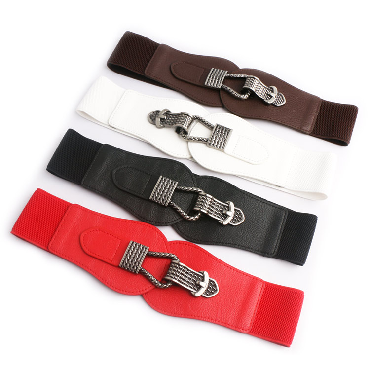 Hot Sale Women Ladies Girls Fashion Wide Waistbands Big Buckle PU Leather Stretchy Belt Elastic Waist Ceinture Waistband Cinto