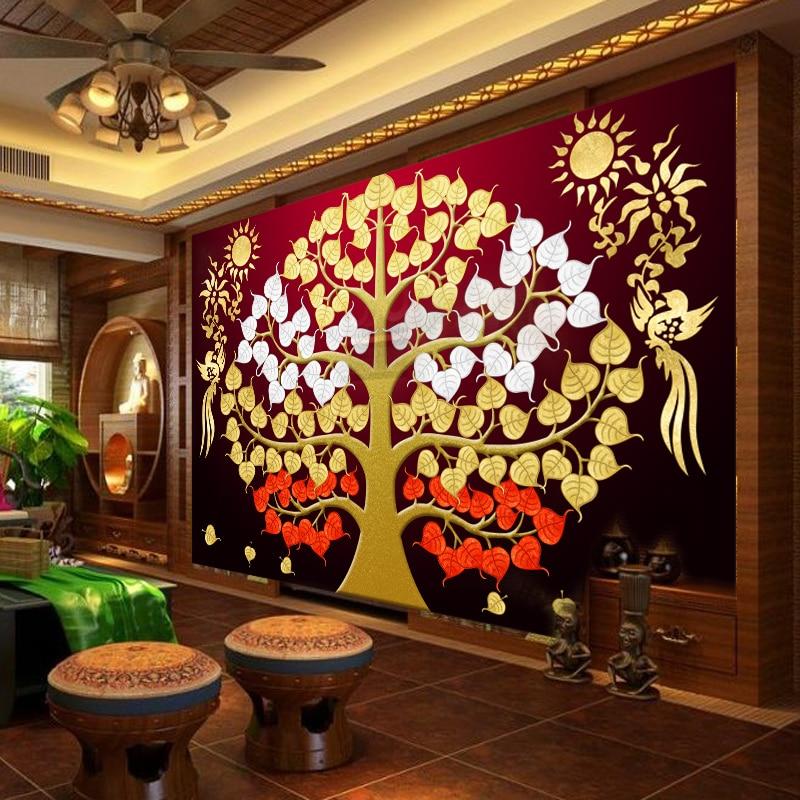 1x3m abstract wallpaper yoga southeast asia thailand style mural1x3m abstract wallpaper yoga southeast asia thailand style mural backdrop auspicious linden tree wallpaper non woven home decor