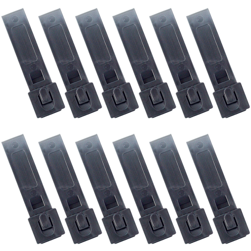12PCS QingGear Short 3 Inch MOLLE Kydex OTW Clips Black Durable Tactical Molle System Malice Strap Clip