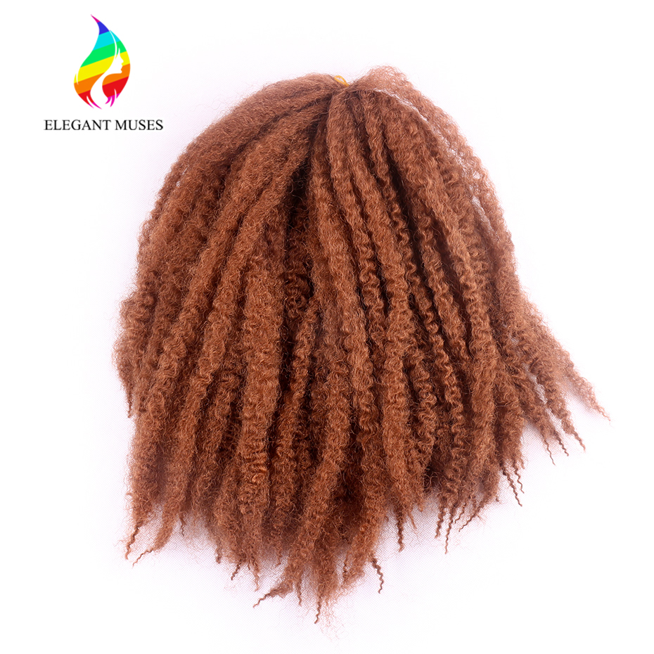 ELEGANT MUSES Synthetic Marley Braids Hair Extensions 16 Inches 3pcs/pack 7 Colors Afro Kinky Twsit Crochet Braiding Hair
