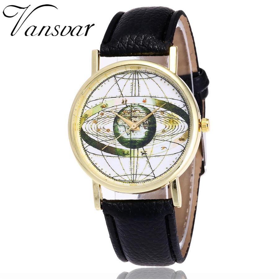 Vansvar  Fashion Solar System Watch Unisex Casual Space Astronomy Wrist Watches Women Leather World Map Quarzt Watches Gifts V21 wireless restaurant calling system 5pcs of waiter wrist watch pager w 20pcs of table buzzer for service