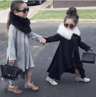 2016 Spring Autumn Pretty Girls Dress Kids Clothes Toddler Print Cute Girl Party Easter Dress Grey