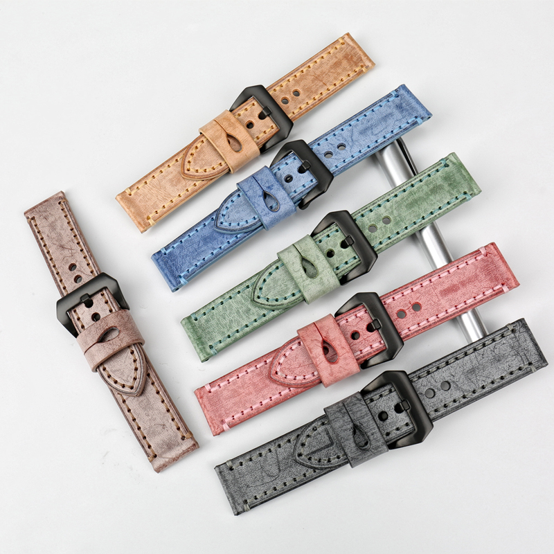 MAIKES New 22mm 24mm watchbands vintage black leather watch strap watch accessories watch bracelet for Panerai watch band in Watchbands from Watches