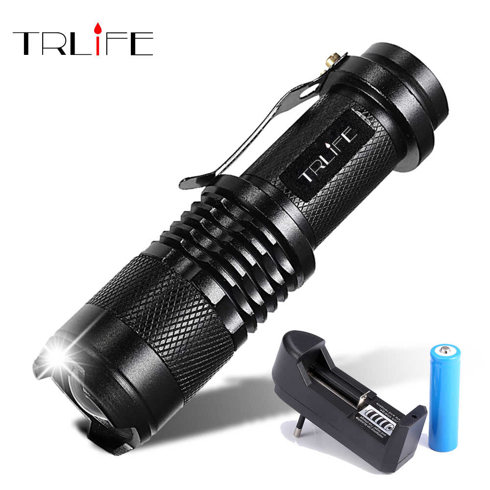 LED Flashlight 8000LM Q5 T6 L2 Mini Portable Torch Adjustable Zoom Flash Light Lamp use 14500 and 18650 battery for Bike light
