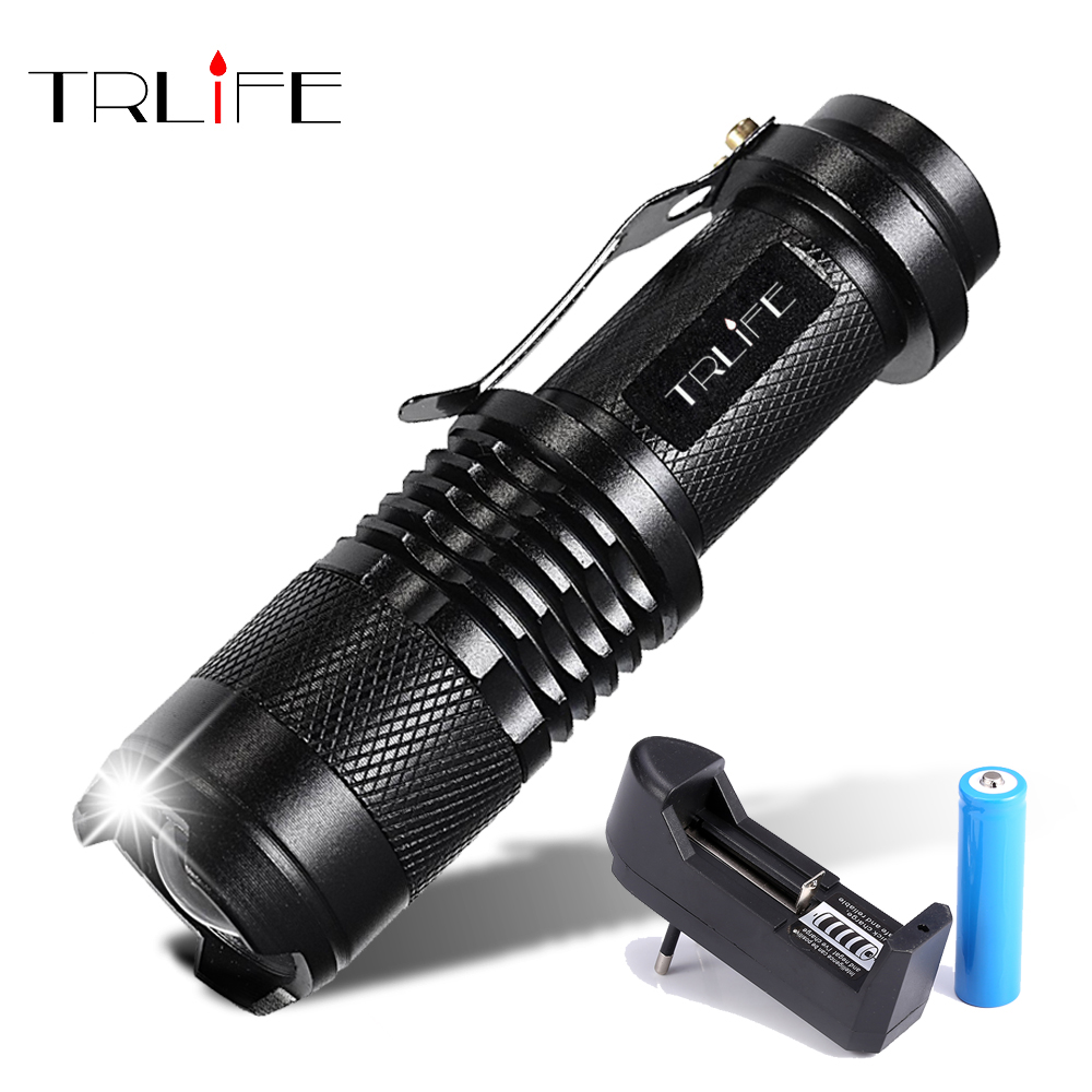 LED Flashlight 8000LM Q5 T6 L2 Mini Portable Torch Adjustable Zoom Flash Light Lamp use 14500 and 18650 battery for Bike light image