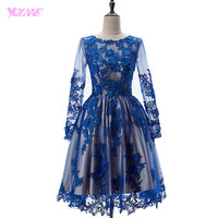 2017 Royal Blue Short Prom Dresses Full Sleeve Ball Gown Formal Party Dress Knee Length Vestido