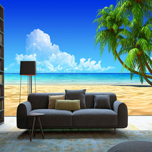 3d space HD landscape mural blue sky sea with white clouds green coconut tree tropic wallpaper for home wall decor shop hotel
