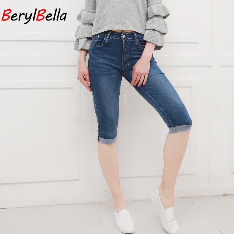Summer Denim SkinnyWomen Capri   Pants   High Waist Cropped Trousers Slim Casual Pantalon Female Denim   Capris   Women Plus Size
