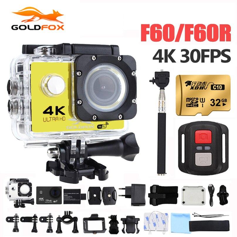 Goldfox F60 F60R 액션 카메라 4K 1080P 60FPS 스포츠 DV 30M 이동 방수 프로 비디오 카메라 자전거 헬멧 자동차 캠