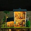Новый DIY Деревянный кукольный домик Миниатюре Лес Вилла кабина с пылезащитный чехол светлая Мебель Ручной Работы 3D кукольный дом для любовника Gits