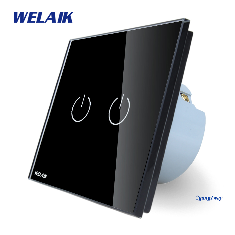 WELAIK Crystal Glass Panel Switch black Wall Switch EU Touch Switch Screen Wall Light Switch 2gang1way AC110~250V A1921B touch switch 2 way 1 gang black white crystal glass switch panel wall light touch screen switch 110 220v ac hot