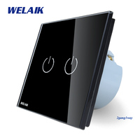 WELAIK Crystal Glass Panel Switch Black Wall Switch EU Touch Switch Screen Wall Light Switch 2gang1way