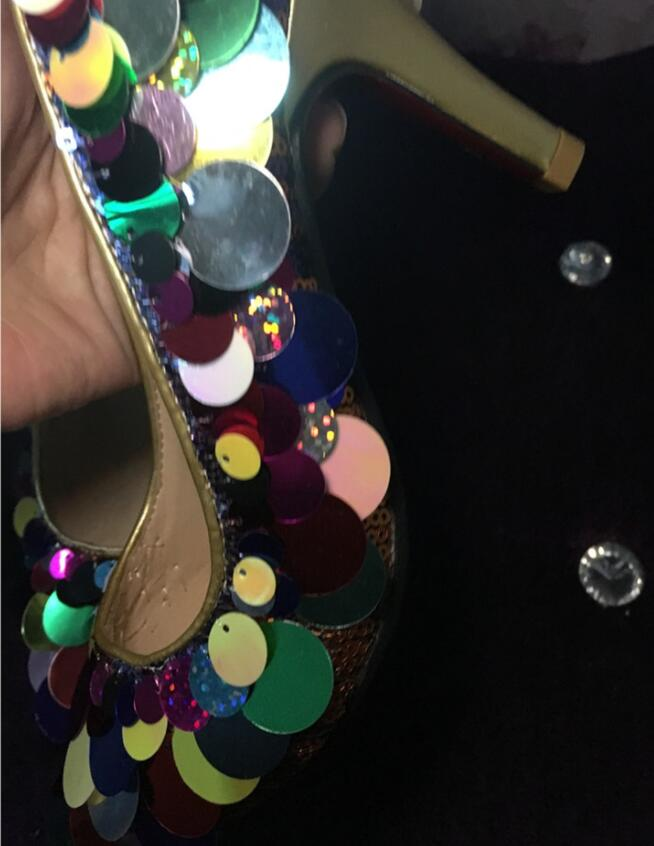 Pompes Dames Multi De Pic Femmes Bling As Printemps Chaussures Robe Ronde Chaton Cousu Mariage Paillettes Talons Zapatos Coloré Hauts qXHcZz