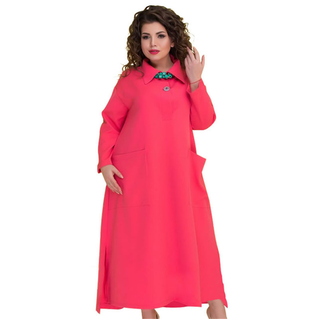 2018 Plus size long dress casual 5xl 6xl Autumn Winter elegant dress office  long sleeve Maxi 570617f16d1f