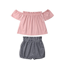Baby Girls Off Shoulder Short Sleeve Tops Striped Shorts Briefs 2Pcs Outfit Set Clothes Summer 2019 girls off shoulder flounce sleeve striped top