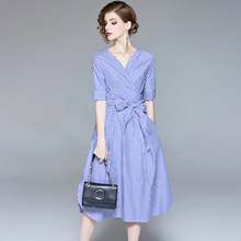 Blue Striped Dress Midi 2018 Summer New Women Fashion Casual Patchwork V-Neck Short Sleeved Lace Up Bow Slim A-Line Dress S-XL summer dress 2019 women s new fashion turn down collar short sleeved denim patchwork mesh slim belted casual dresses midi s xl