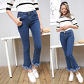 Boyfriend Jeans For Women 2016 Autumn Basic Style Vintage Tassel Wide Leg Bell Bottom Stretch Denim Pants Blue Woman Jeans Femme