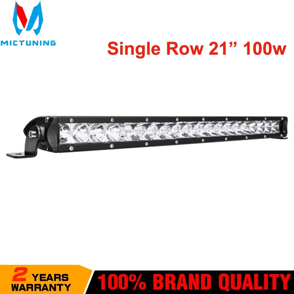 MICTUNING 21 Inch 100W Led Work Light Bars Single Row Spot Beam Work Lights for Jeep