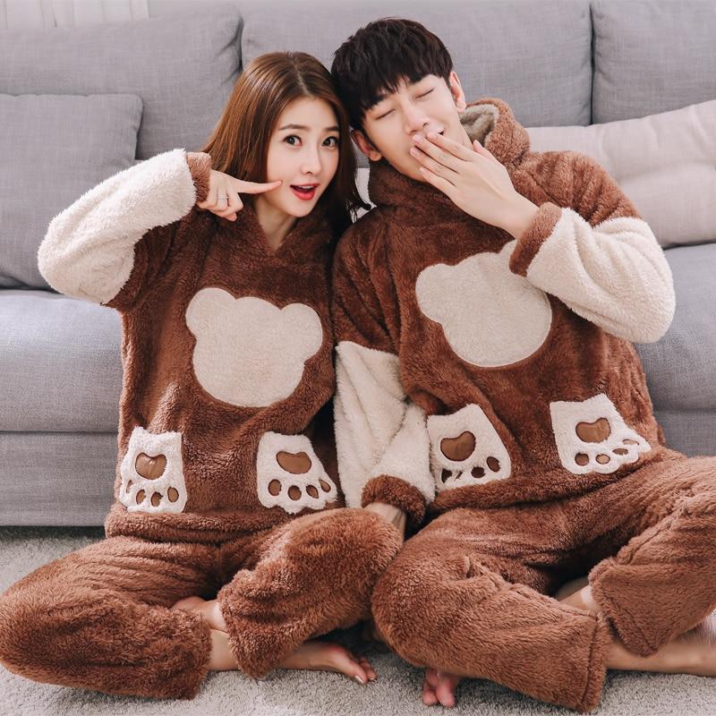 New Men Home Coral Fleece   Pajama     Sets   Korean Cartoon Pokemon Contrast Color Casual Long-sleeved Flannel Hooded Winter Sleepwear