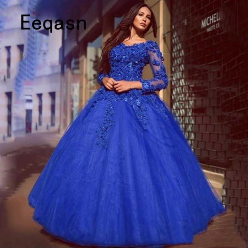 Luxo Vestidos Longos Quinceanera 2019 Puffy Vestido De Baile Doce Dezesseis 16 Lace Apliques Azul Royal Quinceanera Vestido do baile de Finalistas