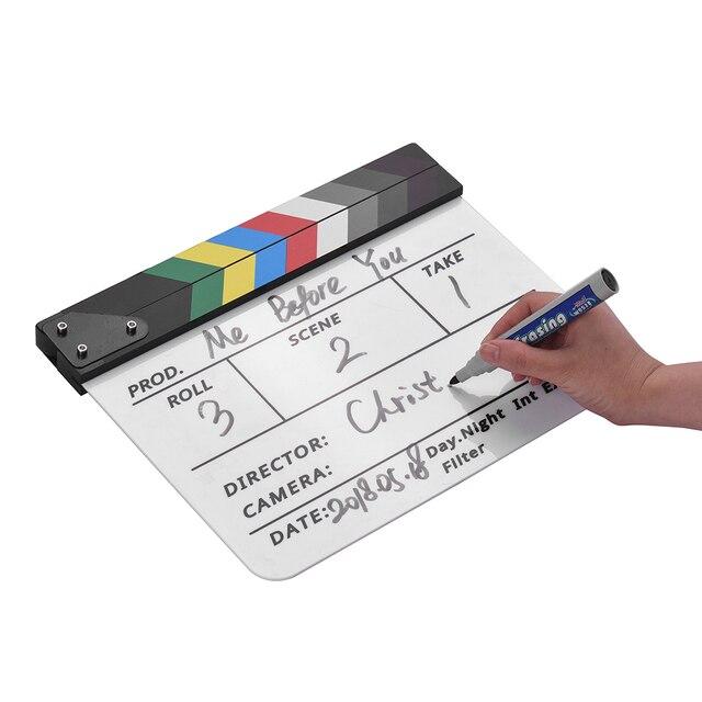 Andoer סרט ClapperBoard אקריליק עץ יבש למחוק טלוויזיה סרט מנהל Cut פעולה סצנת צפחת Clap עם סמן עט מחק