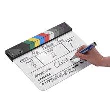 Andoer Film ClapperBoard акриловая вагонка сухое стирание ТВ кинорежиссера резка экшн сцены Хлопушка с маркером стирательная ручка