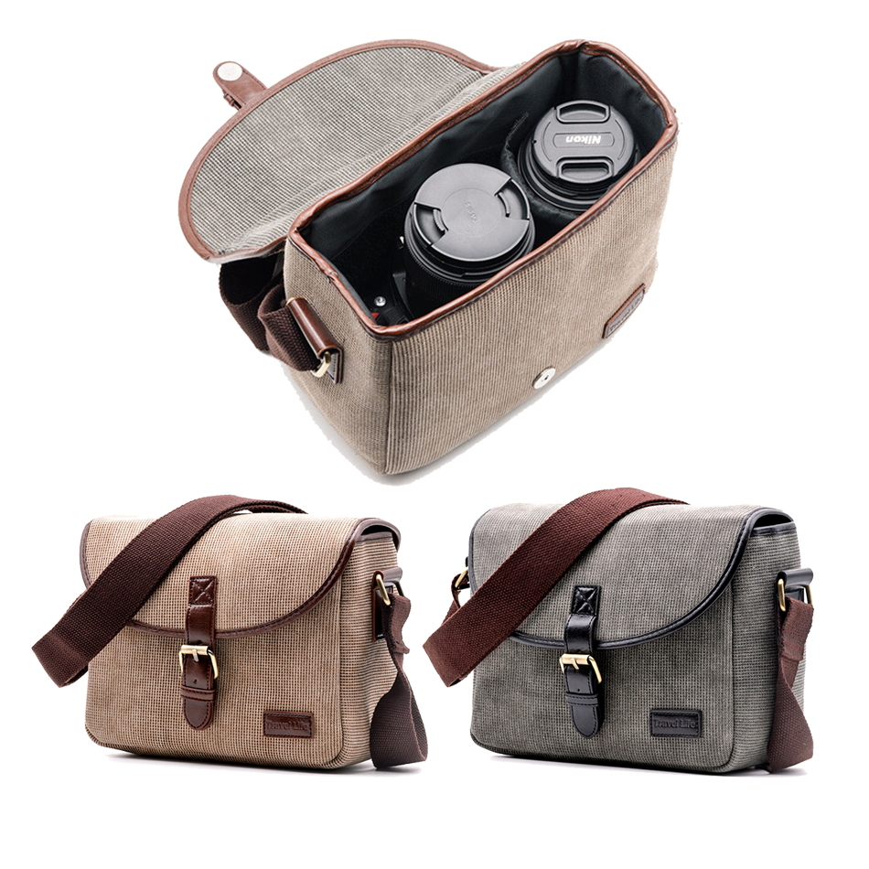 Retro Waterproof Camera Bag Photography Package DSLR Shoulder Case for Sony Nikon Canon Canvas Micro Single Messenger Men Women