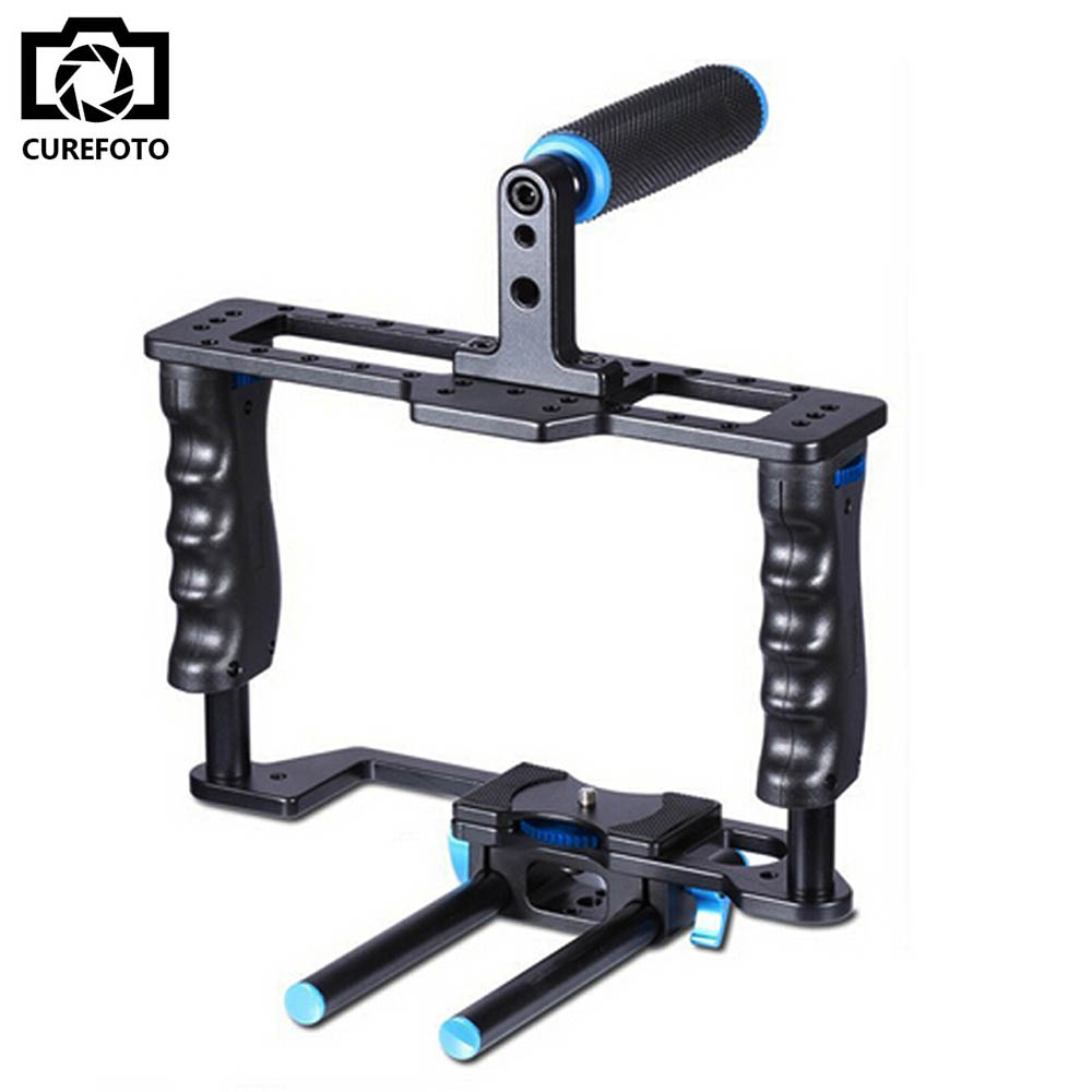 Professional Aluminum DSLR Camera Movie Making Video Cage With 15mm Rod System For Canon Nikon Sony Pentax Olympus Panasonic women pointed toe flats 2016 casual shoes female graffiti ballet flats mujer zapatos footwear for woman