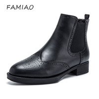 FAMIAO Genuine Leather Sheepskin Chelsea Boots Women 2017 Elastic Band Europe Style Waxing Leather Ankle Ladies