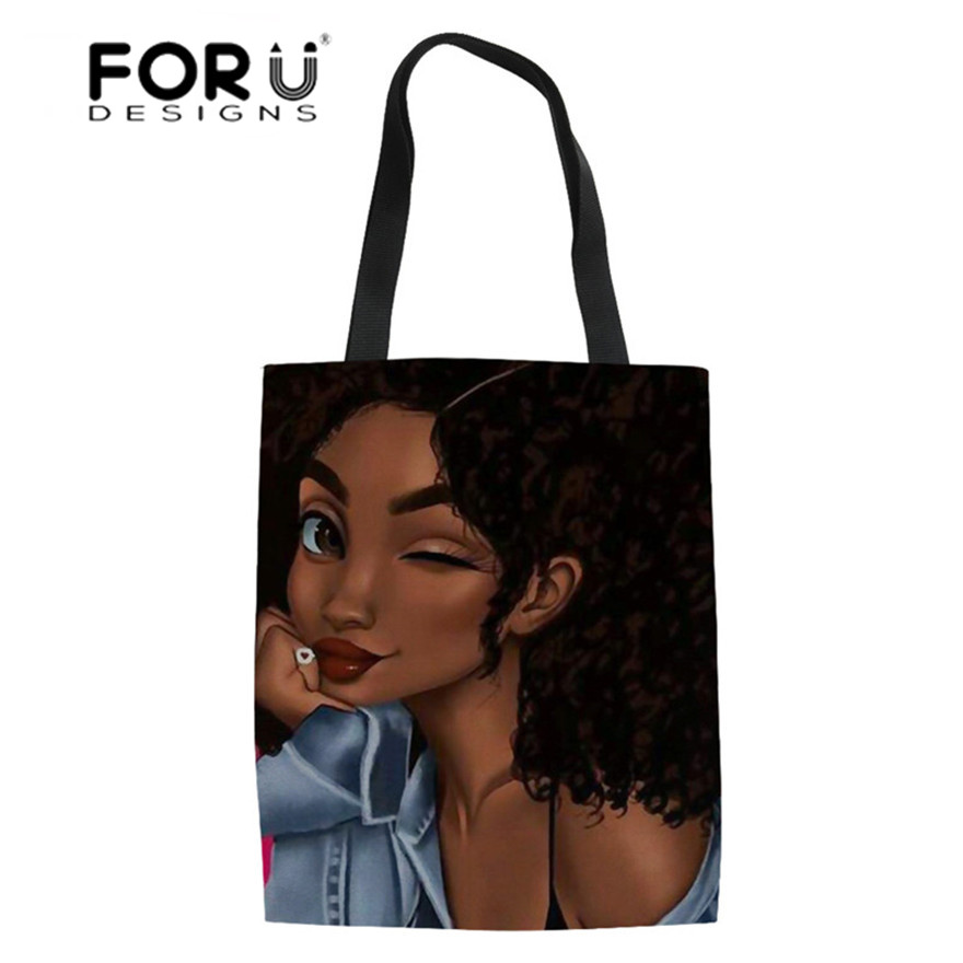 FORUDESIGNS Heavy Duty Shopping Bags Women Art Black African Girl Printing Shopper Bag Teenagers College Book Bags Females Bolsa