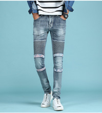 Locomotive Jeans Personality Patchwork Jeans Men Cotton Pencil Men Jeans Fashion Street Style Skinny Jeans Men