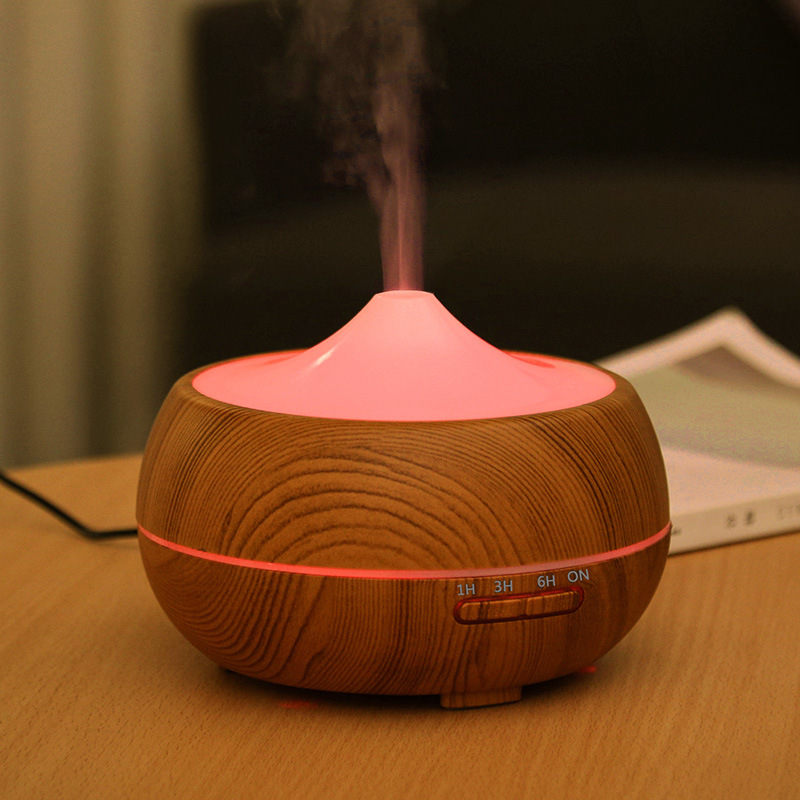 3 Gears Timing Aroma Essential Oil Diffuser Ultrasonic Wood Grain Air Humidifier With LED Lights For Office Home Mist Maker