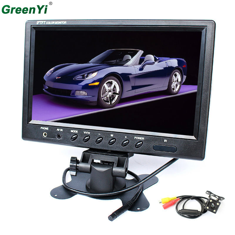 New HD 800 x 480 Super Thin 9 Inch Color TFT LCD 2 Channels Video Input Car Rear View Monitor LED CCD Night Vision Camera