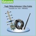 824 ~ 960 MHz Antena Yagi Exterior 5 Unidades Indoor Whip Antenna + 15 meter Cables para CDMA 850 MHz y GSM 900 MHz Señal Móvil Booster