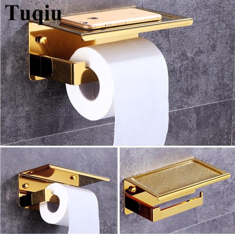 Wand Bad Edelstahl Gold Toilette Papierrollenhalter Handyhalter Bad