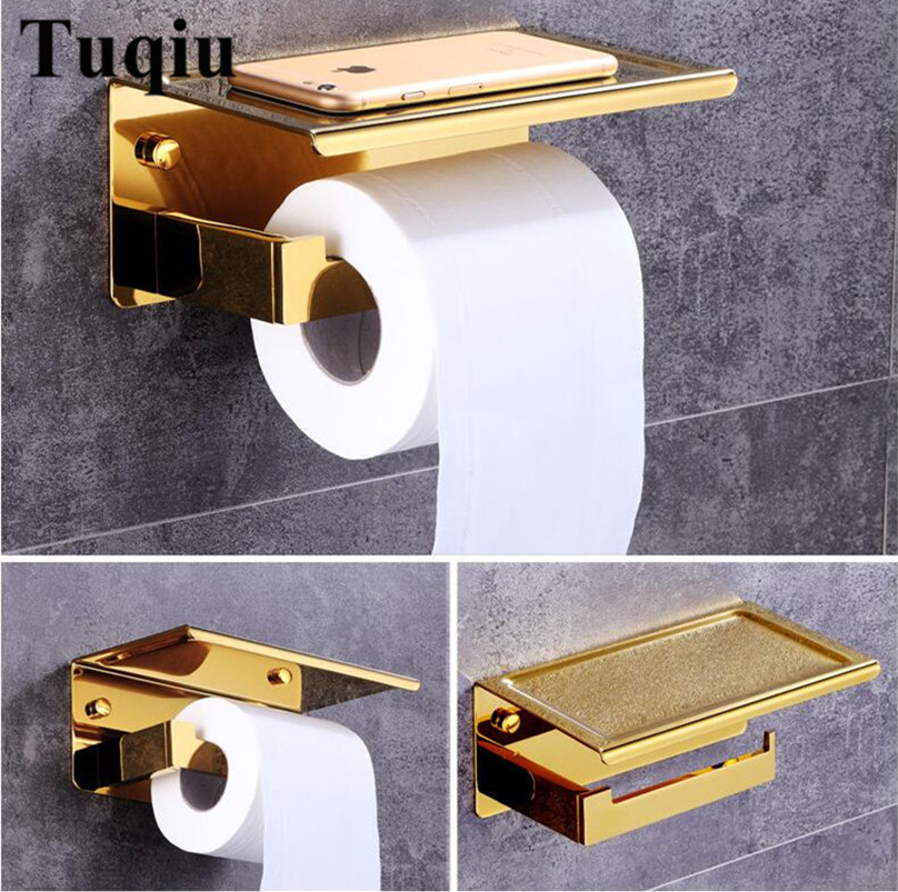 wall mounted Bathroom stainless steel gold Lavatory Toilet Paper Holder Tissue Holder ,phone holder bathroom accessories new bathroom toilet tissue box wall mounted roll holder stainless steel bathroom accessories toilet paper holder cobbe t82603