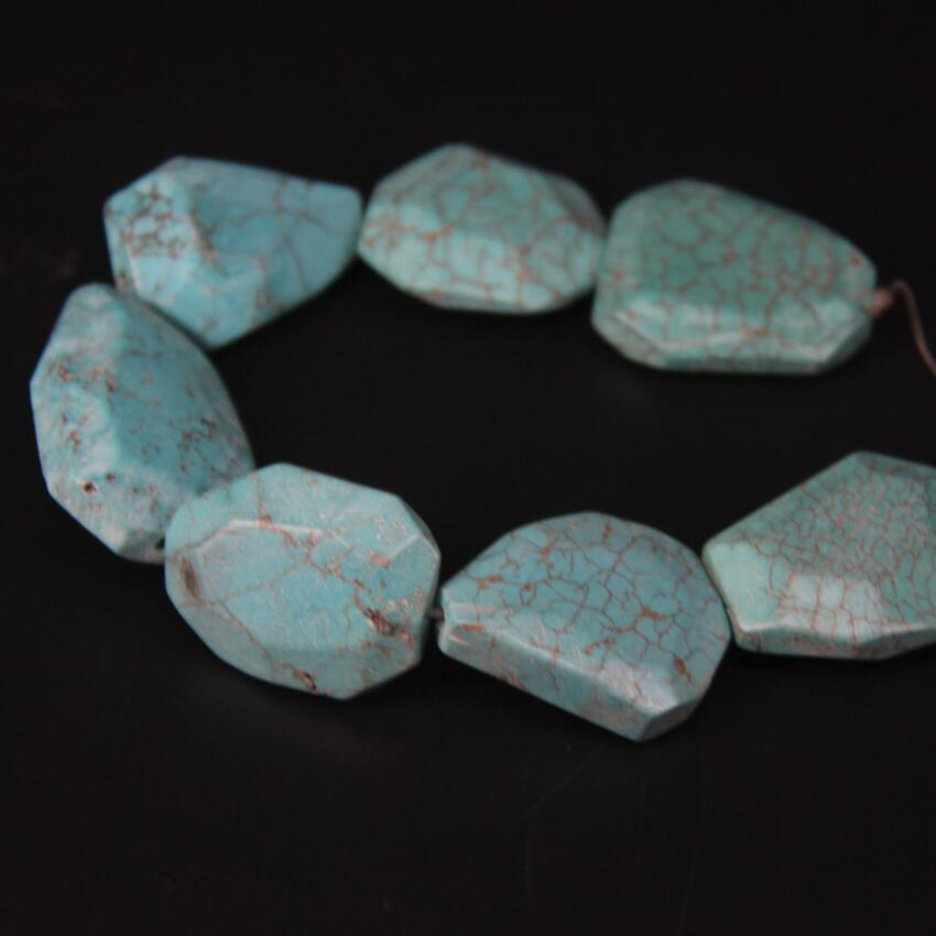 11 13pcs strand Natural Turquoises Faceted Slab Nugget Loose Beads Blue Howlite Magnesite Stone Slice Pendants Jewelry Making in Beads from Jewelry Accessories