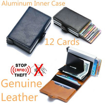 купить Twin Metal Card Holder RFID Blocking Leather Business ID Credit Cardholder 2019 Men Thin Double Aluminium Case Wallet Mini Purse дешево