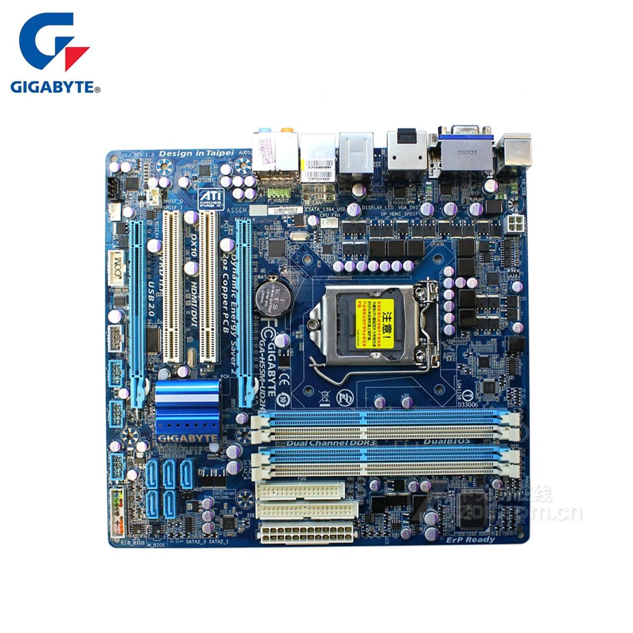 Gigabyte GA-H55M-UD2H 100% D'origine Carte Mère LGA 1156 DDR3 16g H55 H55M-UD2H De Bureau Carte Mère SATA II Systemboard Utilisé