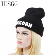 Embroid UNICORN 2017 Winter Womens Beanies Mens Skullies Fashion Brand Warm Hat Hiphop Cap Black Gray Gorros Hip-Hop Outdoor